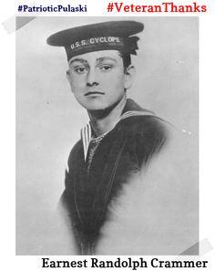 #PatrioticPulaski thanks Earnest Randolph Crammer for his service! #VeteranThanks #PulaskiCountyUSA #Navy U.S.S Cyclops