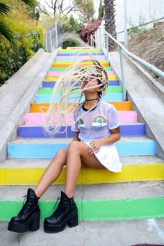 Lee Catherine - The Ragged Priest Rainbow Top, Unif Shoes, Tunnel Vision Choker, American Apparel Skirt - #LOVEWINS | LOOKBOOK