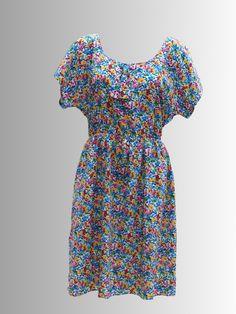 1980s 40's style Tea Dress from www.sixesandsevensvintage.com at £15.00 Retro Vintage Dresses, Retro Dress, Dresses For Sale, Summer Dresses, 40s Fashion, 1980s, Printing On Fabric, Fabrics, Tea