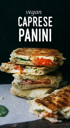 Tomatoes, basil, and cashew mozzarella cheese comprise these Caprese Panini sandwiches from Wallflower Kitchen.