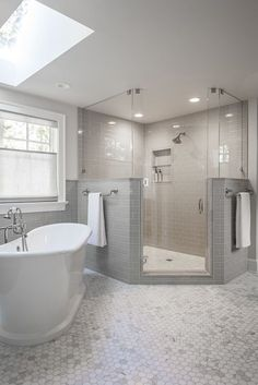 Modern Farmhouse, Rustic Modern, Classic, light and airy master bathroom design suggestions. Bathroom makeover suggestions and bathroom renovation ideas. Bathroom Renos, Bathroom Layout, Bathroom Interior Design, Bathroom Ideas, Bathroom Remodeling, Bathroom Designs, Bathroom Plans, Bathroom Cabinets, Bathroom Organization