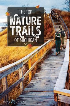 """Find out why Michigan is known as """"The Trails State"""" as you navigate winding forest paths, splash through cool waterways, maybe even catch some air with these amazing Michigan trails for every activity! Michigan Vacations, Michigan Travel, Michigan Usa, Lake Michigan, Travel Blog, Travel Usa, Places To Travel, Places To See, Adventure Is Out There"""