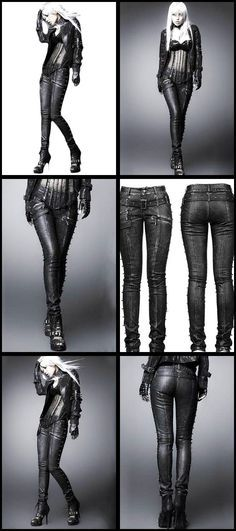 Punk Rave Skinchanger Trousers, Nu Gothic style Leather Look Jeans from ANGEL CLOTHING