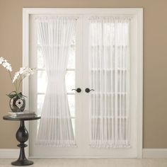 Door Panel Curtains – check various designs and colors of Door Panel Curtains on Pretty Home. Also check Door Curtains French Door Curtain Panels, Door Panel Curtains, French Door Windows, Glass Door Curtains, French Doors Bedroom, Patio Door Curtains, French Doors Patio, Patio Doors, Drapes Curtains