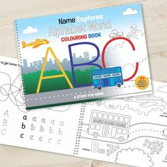 Alphabet World Personalised Colouring Book - Alphabet World Colouring Book A4