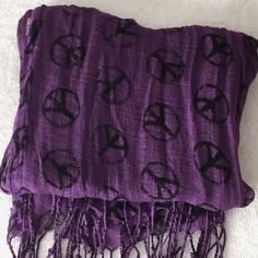 1 HR SALE ⚡️Purple Peace Sign Scarf Great condition. Purple scarf / wrap with black peace signs and fringes on the ends Accessories Scarves & Wraps