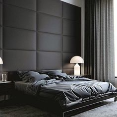 Discover sleek and sexy signature interior styles with the top 50 best black bedroom design ideas. Explore cool dark wall colors and luxury decor accents. Black Master Bedroom, Black Bedroom Design, Black Interior Design, Master Bedroom Interior, Room Design Bedroom, Interior Walls, Bedroom Ideas, Bed Room Design Modern, Black Bedroom Walls