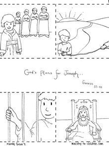 These sequenced coloring pages tell the story of Joseph. They could be used as a teaching illustration in Sunday School, or a printable coloring activity for children. Simply print out the pages fr…