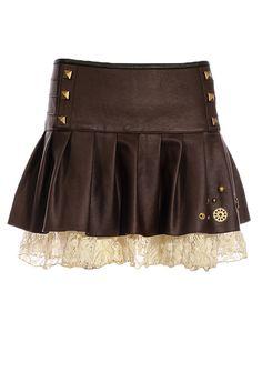 Jupe marron imitation cuir avec dentelle beige, rivets et rouages bronze, steampunk, RQBL > STEAMPUNK STORY - RQBL0367
