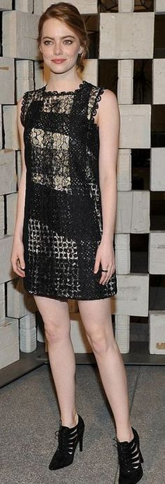 Who made Emma Stone's black print dress? Who cares. She could wear a box and be hot.