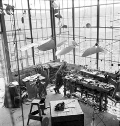 "Worth the Trip: Calder at the Tate Modern through April 3, 2016  ""When everything goes right, a mobile is a piece of poetry that dances with the joy of life and surprise."" — Alexander Calder  Alexander Calder in his Roxbury studio, 1941.  Photo: Courtesy of the Calder Foundation, New York/Art Resource, NY ©ARS, NY and DACS, London, 2015."