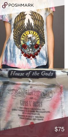 House of the gods t Sequined and beaded GUNS AND ROSES T house of the gods Tops Tees - Short Sleeve