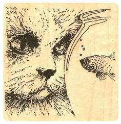 """{Single Count} Unique & Custom (2 1/2"""" Inches) """"Cat Longingly Staring At A Fishbowl"""" Square Shaped Genuine Wood Mounted Rubber Inking Stamp"""