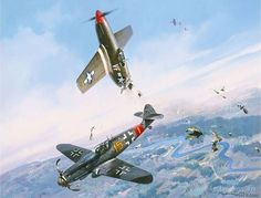 CLASH OF EAGLES by Roy Grinnell. Lt. Joe Bennett from the 4th FG in his P-51B was attacked by Lt. Hubert Heckman in his Me-109. Heckman's guns jammed but he did not want the P-51 to get away, so he rammed Bennett! Bennett bailed out and Heckman crash landed. Bennett became a POW. After the war, the two became friends and met every year for their reunion. They are now both deceased.