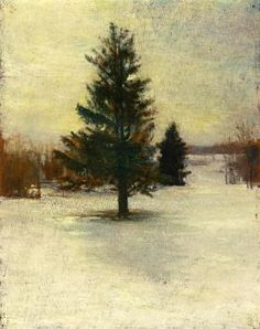 Snow, Sketch: Hillside with Cedars, Evening - John La Farge - The Athenaeum