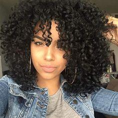 Black Curly Hair, Curly Hair Cuts, Long Curly Hair, Curly Hair Styles, Curly Hair Bangs, Natural Hair Bangs, Natural Curls, Kinky Curly Wigs, Afro Wigs