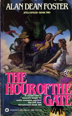 Spellsinger II: The Hour Of The Gate by Alan Dean Foster (1984) | Accompanying the wizard Clothahump to try & mount a defense against the invasion of the Plated Folk, Jon-Tom & Mudge find themselves faced with ever more serious obstacles