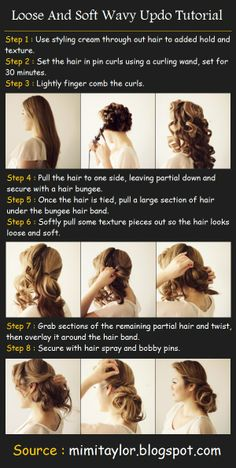 Loose And Soft Wavy Up-do Tutorial | Pinterest Tutorials