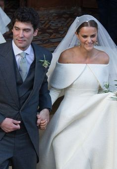 Lady Charlotte Wellesley and Colombian billionaire Alejandro Santo Domingo smile after their wedding Royal Brides, Royal Weddings, Royal Wedding Gowns, Gown Wedding, Long Wedding Dresses, Bridal Dresses, Lady Charlotte Wellesley, Dress Vestidos, Celebrity Weddings