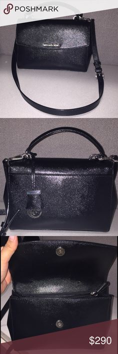 "Beautiful classic Authentic Michael Kors handbag Authentic black Michael Kors handbag with detachable shoulder strap. It's black leather sheen makes any outfit look glamorous. It has all silver hardware. The dimensions are 10"" X 3"" X 7"". It's also has adjustable snap buttons on the sides so that you can either have a dainty little bag, for just lipstick and wallet or for the multitasker like me it fits keys, wallet, iphone, kindle, Blackberry & a small makeup bag. Michael Kors Bags Shoulder…"
