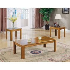 Coaster Furniture 3 Piece Wooden Coffee Table Set - 5168