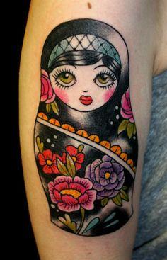 Ramona Masson, Ink Lady Tattoo, Liege Belgium, oldschool black matriochka (russian doll) Babushka Tattoo, Russian Doll Tattoo, Tattoos Motive, Time Tattoos, New Tattoos, Tatuaje Old School, Matryoshka Doll, Black Tattoos, Tatoo