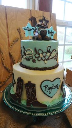 Cowboy horse baby shower cake - By Nikki Doan