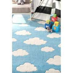 Viv + Rae Lily Cloudy Sachiko Hand-Tufted Blue Area Rug | Wayfair Clouds Pattern, Polyester Rugs, Orange Rugs, Pink Clouds, Rugs Usa, Pink Rug, Buy Rugs, Contemporary Rugs