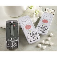 """Mint to Be"" Bride and Groom Slide Mint Tins with Heart Mints - Box, Bags and Tins Favors - Wedding Favors"