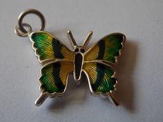 Butterfly Charm Silver Guilloche Enamel by BraceletstoBuckles