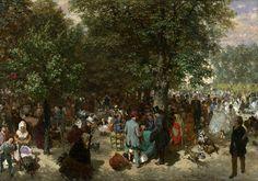 Adolph von Menzel (1815-1905) Olje på lerret, 49 x 70 cm, National Gallery, London  Tysk titel: Nachmittag im Tuileriengarten.  Tuileri-hagen, fransk Jardin des Tuileries ligger sentralt i Paris, og var lenge et populært promenadestrøk. Det er sterke grunner til å anta at von Menzel her har vær