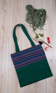OOAK Ethnic Shoulder Bag http://etsy.me/2FhM5yP #etsy #airyfairybags #bagsandpurses #green #ooak #ethnicbag #shoulderbag #bohototebag #canvasbookbag #marketbag #beachbag #nursetote #totebagstudent #overnightbag #fabrictotebag #forher #giftforher #everydaybag #shopperbag