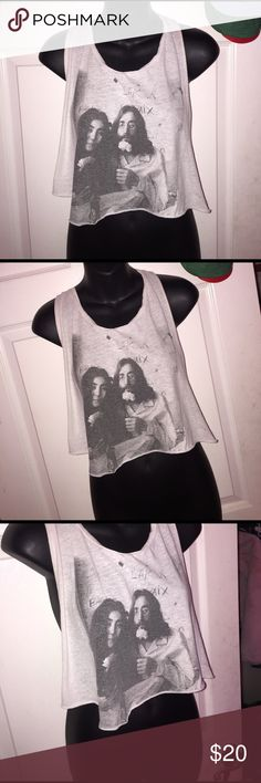 John Lennon & Yoko Ono true love muscle tee. Great condition!! Love this, Gives a very vintage hippy feel such amazing art. ✨✨🤗🙃 ASOS Tops