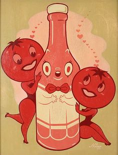 Nouar, All The Girls Love Ketchup.  One of my favorites of the artist's which I recreated myself in gauche!