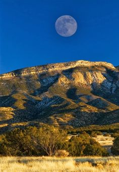 Moon over the hills in Albuquerque, New Mexico.