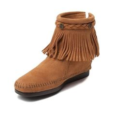 Add some pizzazz to your music festival fashion with the new Back Zip Boot from Minnetonka! The Back Zip Boot rocks an ankle boot design with decorative fringe and metal stud embellishments encircling the collar. <b>Available only online at Journeys.com and SHIbyJourneys.com!</b>  <br><br><u>Features include</u>:<br> > Soft suede upper with decorative fringe<br> > Full back zipper provides convenient accessibility<br> > Foam padded footbed provides comfort and cushion for all day wear<br…