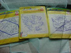 Aunt Martha's Hot Iron Transfers Bonnet Girl Baskets Letters + LOT of 3 A1826