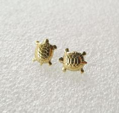 Turtle Earring Studs with Sterling Silver Posts-- these totally scream ME