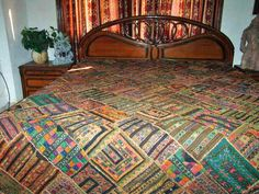 Kutch Embroidery Ethnic Antique Throw Wall Tapestry #mogulinterior