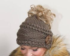Messy Bun Beanie Ponytail Beanie Messy Bun Hat CHOOSE COLOR Taupe Brown Braided Ponytail Hat Beanie with hole Christmas Gift under 50