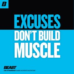 """""""Excuses don't build muscle."""" How do you motivate yourself to not give in to excuses? #NoExcuses #Motivation #Inspiration #NoPainNoGain #Fitness"""