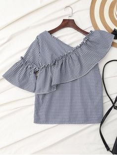 $18.49 Plaid Ruffle Asymmetric Flare Sleeve Top - COLORMIX L