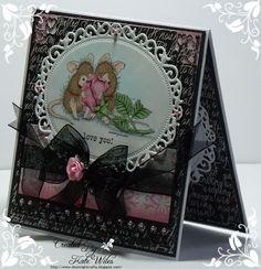 handmade card, love, heart, ribbon flower, house mouse