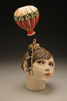 Annabelle - Ceramic - Sara E. Morales  #ceramic #sculpture #hotairballoon #portrait