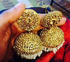 Beautifu, minutely crafted Indian #Jhumka Earrings, via @sunjayjk