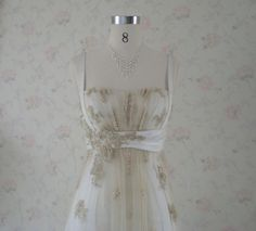 Vintage Inspired Wedding Dress with Light Gold Lace and Charmeuse Empire Waist Style by WeddingDressFantasy on Etsy https://www.etsy.com/listing/191092197/vintage-inspired-wedding-dress-with