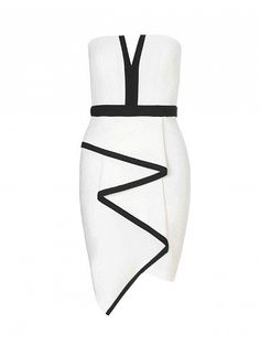 White Strapless Pleated Dress