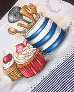One Stroke Painting, Tole Painting, Fabric Painting, Wedding Cakes With Cupcakes, Fun Cupcakes, Cupcakes Wallpaper, Cupcake Recipes From Scratch, Birthday Display, Watercolor Bookmarks