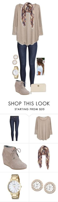 """I know that in my weakness I am strong but it's your love that brings me home."" by madelynprice ❤ liked on Polyvore featuring H&M, MANGO, TOMS, BP., Kate Spade, Swarovski and Tory Burch"