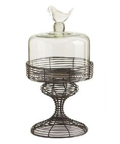 Loving this Medium Round Metal Tray & Glass Dome on #zulily! #zulilyfinds